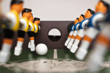 Beginning of a foosball game