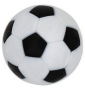A black and white foosball ball